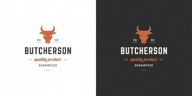 Boucherie logo vector illustration tête de vache silhouette bonne pour insigne de ferme ou de restaurant. conception d'emblème de typographie vintage.