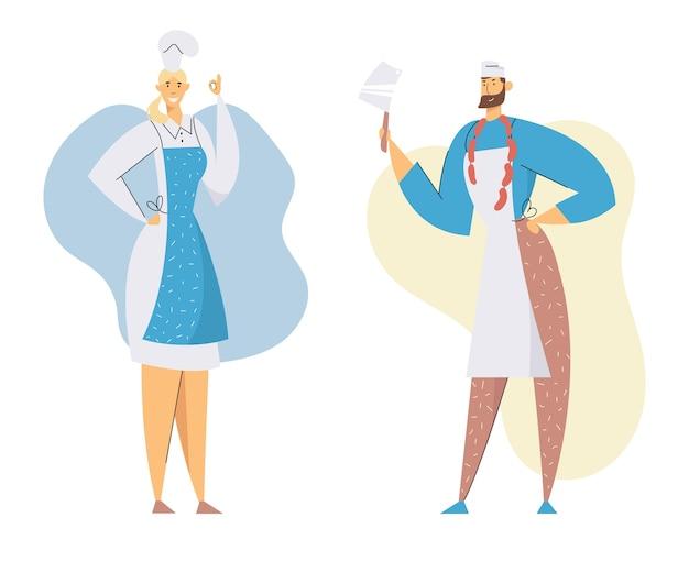 Boucheries personnages masculins et féminins en chef tuque et uniforme présentant la production