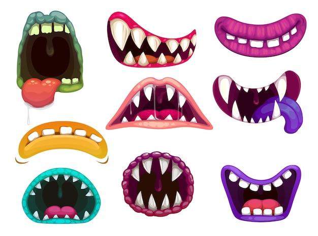 Bouches de monstre avec des dents et des langues acérées.