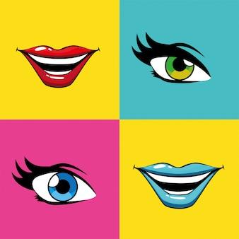 Bouches et yeux pop art féminin à l'intérieur du vecteur de cadres