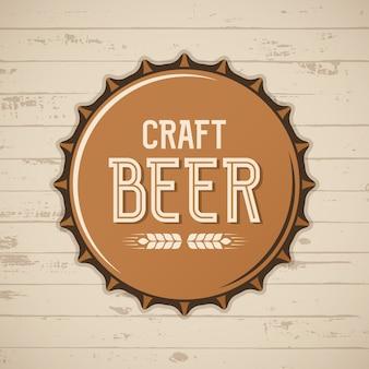 Bouchon de bouteille de bière artisanale. logo de brasserie de vecteur, emblème, insigne.