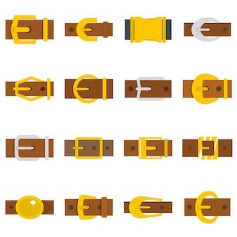 Boucles de ceinture icônes définies dans un style plat