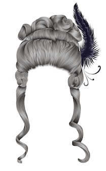 Boucles de cheveux femme perruque. style médiéval roccoco, baroque.haute coiffure avec plume.