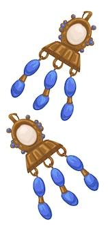 Boucles d'oreilles dorées de la rome antique ou de la grèce, bijoux isolés avec chaînes et pierres précieuses. parure luxueuse pour dames, bijouterie au trésor, décoration élégante pour dames, femmes. vecteur dans un style plat