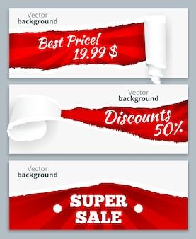 Boucles de papier déchiré révélant des prix discount super vente sur fond rouge ensemble de bannières horizontales réalistes