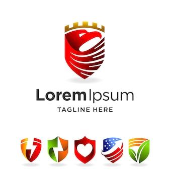 Bouclier abstrait logo avec concept multiple