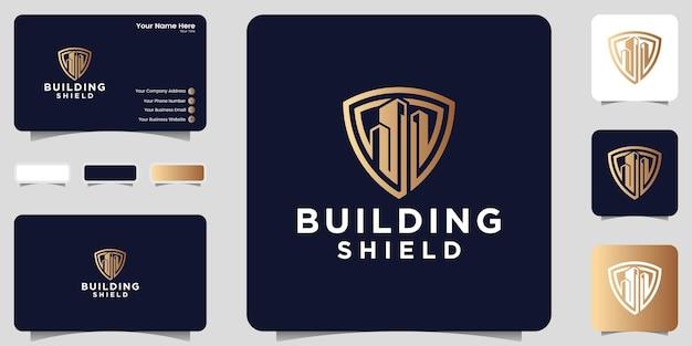 Bouclier et bâtiment logo inspiration conception de carte de visite couleur or