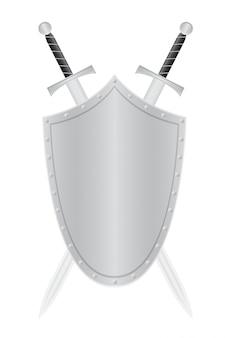 Bouclier blanc et deux épées vector illustration