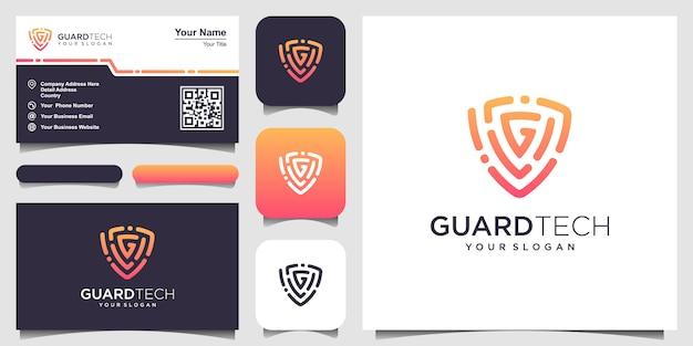 Bouclier créatif avec les modèles de logo lettre g concept. carte de visite