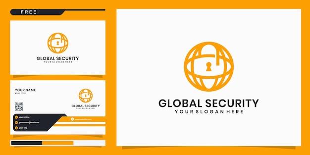 Bouclier avec création de logo globe et carte de visite