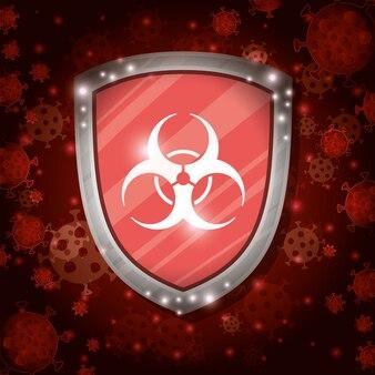 Bouclier de détresse devant le fond du virus covid 19