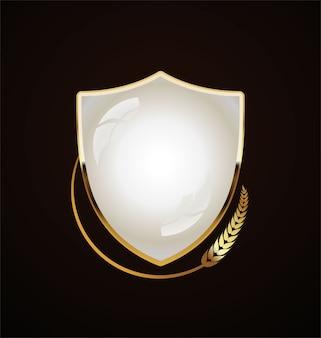 Bouclier doré design rétro