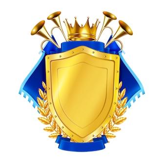 Bouclier doré héraldique décoré par une illustration de fanions bleus