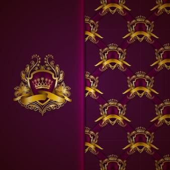 Bouclier élégant en or avec couronne en or