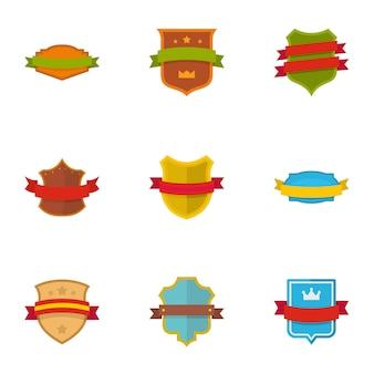 Bouclier ensemble d'icônes. ensemble plat de 9 icônes vectorielles de bouclier