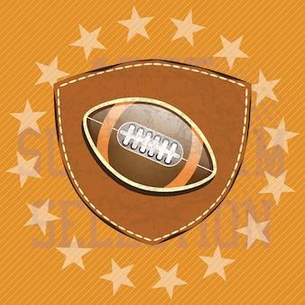 Bouclier de football américain avec stras et couleurs rétro illustration vectorielle
