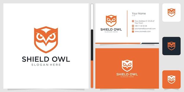 Bouclier hibou logo design symbole icône modèle carte de visite premium