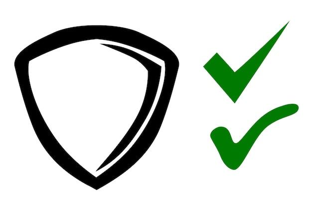 Bouclier d'icône ou symbole vrai et faux de protection, croquis simple de dessin de main de griffonnage de vecteur