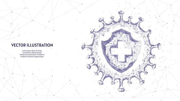 Bouclier et infection. protection contre le virus, lutte contre le coronavirus covid-19. vaccins, antibiotiques, médecine, technologie médicale innovante.