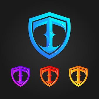 Bouclier lettre t logo