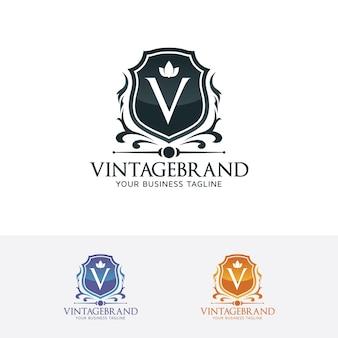 Bouclier avec logo lettre v