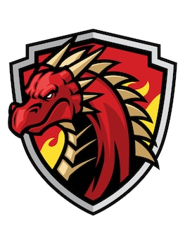 Bouclier mascotte tête de dragon