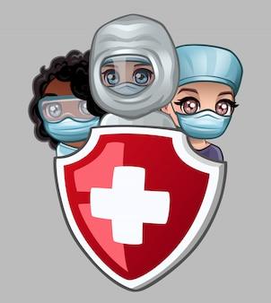 Bouclier et médecins avec masques