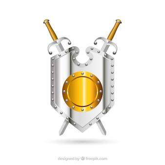 Bouclier médiéval avec des épées