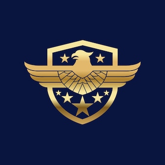 Bouclier oiseau eagle hawk logo icône vecteur illustration