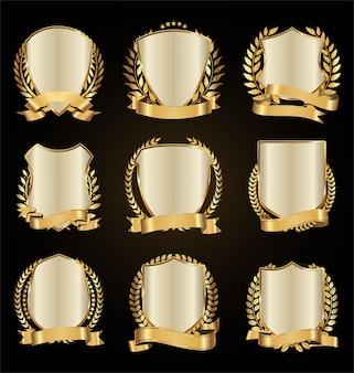 Bouclier d'or couronne de laurier avec collection de ruban d'or