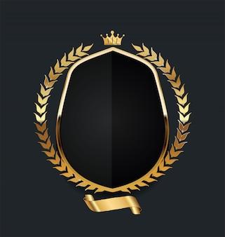 Bouclier d'or avec une couronne de laurier d'or