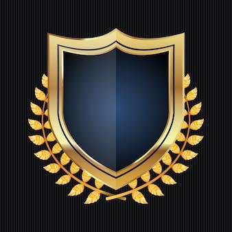 Bouclier d'or avec la couronne de laurier
