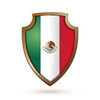 Bouclier d'or avec le drapeau du mexique isolé sur blanc.