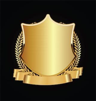 Bouclier or et noir avec des lauriers d'or