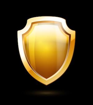 Bouclier d'or vide isolé