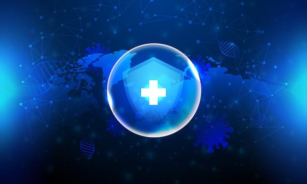 Bouclier protection corona virus en fond bleu et carte du monde