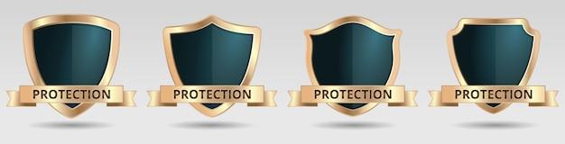 Bouclier protection jeu d'icônes de sécurité