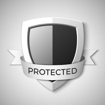 Bouclier de protection noir et gris. bannière. symbole de sécurité. illustration.