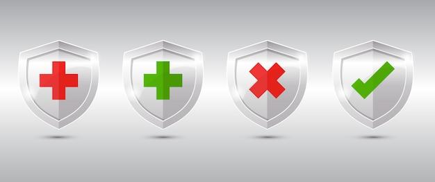 Bouclier de protection de la santé médicale traverser et vérifier.