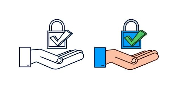 Bouclier réaliste, symbole de protection et de fiabilité avec les mains. illustration vectorielle.