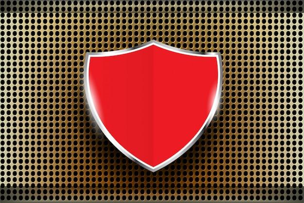 Bouclier rouge en métal perforé