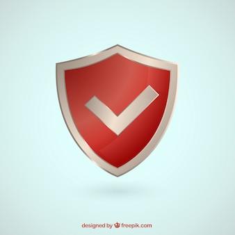 Bouclier rouge avec symbole de contrôle