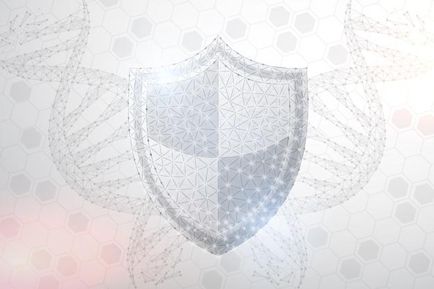 Bouclier de sécurité polygonal et image abstraite d'adn, fond isolé.