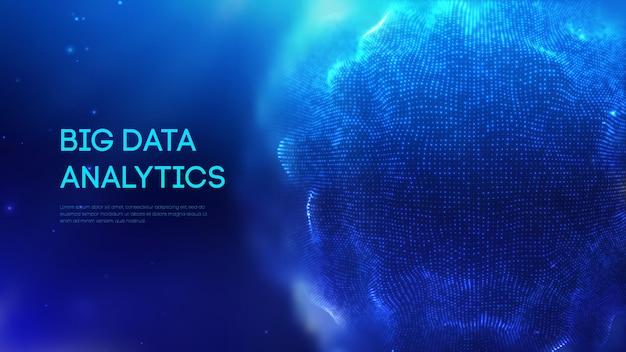 Bouclier de sphère bleue sur des données colorées de fond sombre. fond de technologie futuriste bleu. champ d'énergie de la sphère abstraite. eps 10