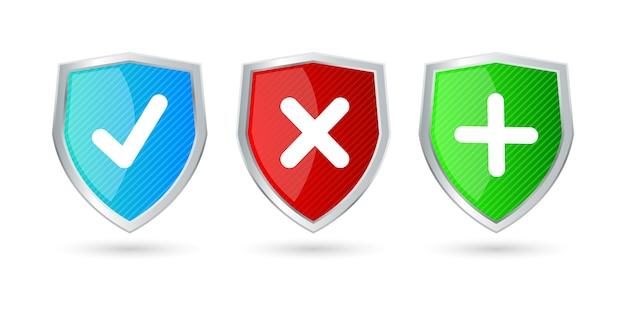 Bouclier en verre rouge vert bleu clair comme du cristal, équipement médical de pare-feu concept de technologie futuriste antivirus avec bien mal et coche icône brillante
