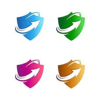 Bouclier vers le haut modèle de logo de flèche