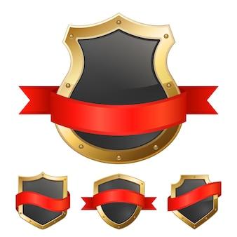 Boucliers de cadre doré noir avec ruban