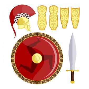 Boucliers grecs, épée et armure