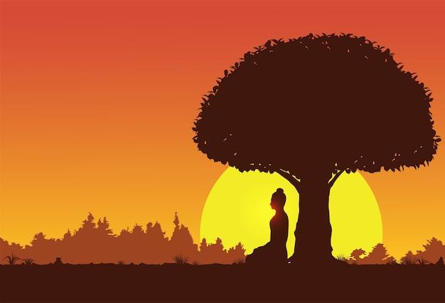 Le bouddha makha bucha day prononçant ses enseignements peu avant sa mort aux moines