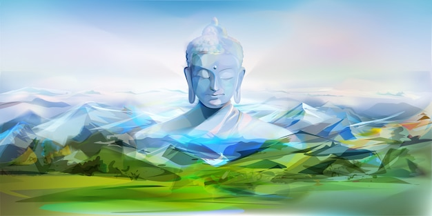 Bouddha et montagnes, illustration vectorielle